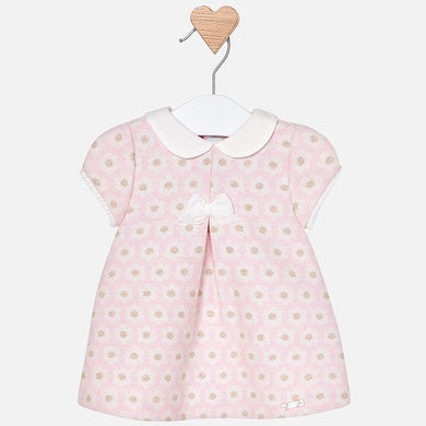 Baby Girls Jacquard Detailed Short Sleeved Dress