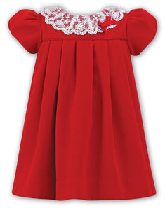 Girls Short Sleeved Velvet Dress with Delicate Embriodered Lace and Ribbon Detailed Neckline
