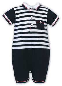 Baby Boys Cotton All in One, Polo Shirt Style Stripped Top with Chest Pocket and Contrasting Trim, Plain Short with Trim