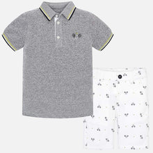Boys Short Sleeved Polo Shirt with Contrasting Trim and Logo and Printed Bermuda Shorts Set
