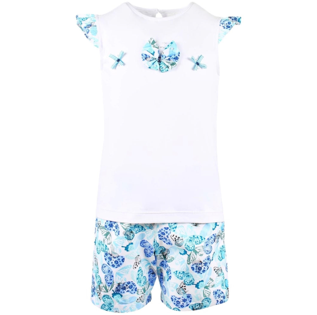 Girls Butterfly Detailed T-Shirt and Shorts Set