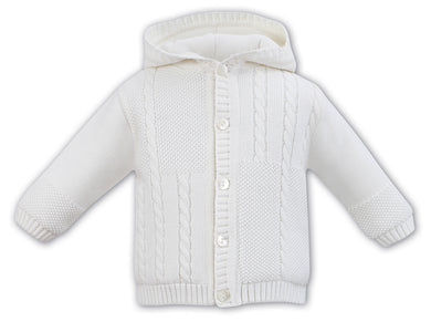 Boys Fully Lined,  Knit Cable Detailed Jacket with Hood
