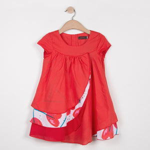 Girls Dress in Red with Flower Print