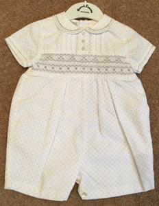 Baby Boys Hand Smocked, Embriodered and Button Detailed Short Sleeved Romper with Peter Pan Collar