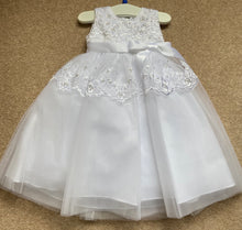 Baby Girls Christening Embroided Pearl Detail Dress and Bonnet