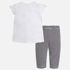 Printed T-Shirt & Striped Cropped Leggings Set