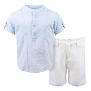 Short Sleeved Shirt with Grandad Collar in Small Checked Fabric and Plain Shorts with Contrasting Detail to Pockets