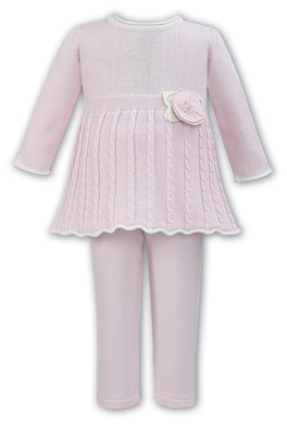 Baby Girls Knitted Trousers Set with Cable Knitted Long Sleeved Top with Detailed Knitted and Pearl Centred Flower