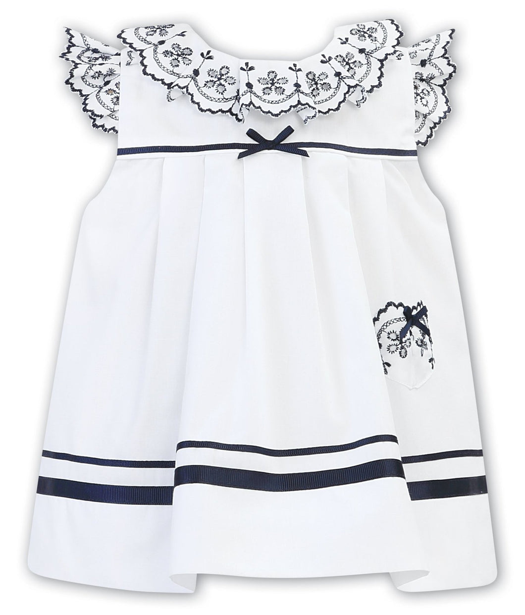 Girls Dress with Embroidered Detailed Collar, Cap Sleeves and Pocket, Ribbon and Bow Trim on Waist Ribbon Trim on Hemline