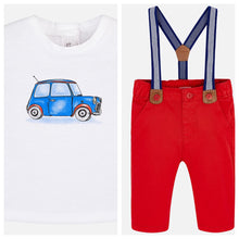 Baby Boys Cotton Trousers with Braces and Short Sleeved Print Detailed T-Shirt