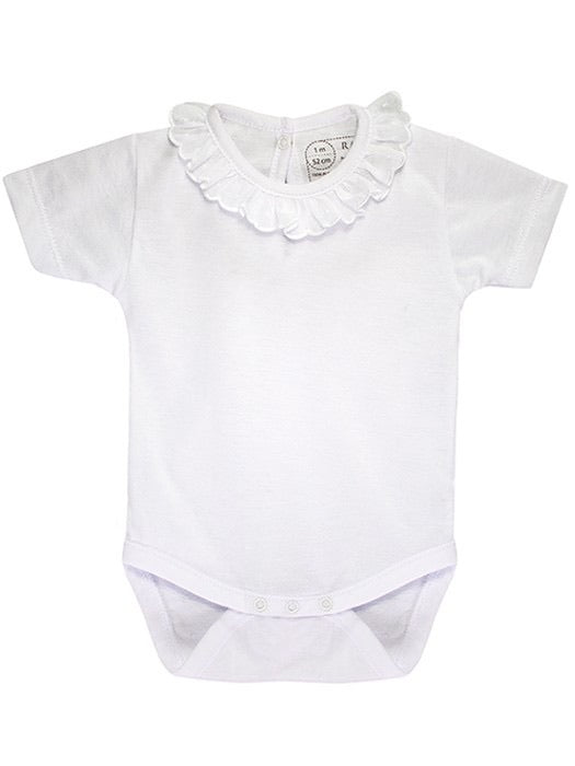 Baby Girls Short Sleeved Body Vest with Beautiful Frill Collar. Super Soft Cotton in Gift Box