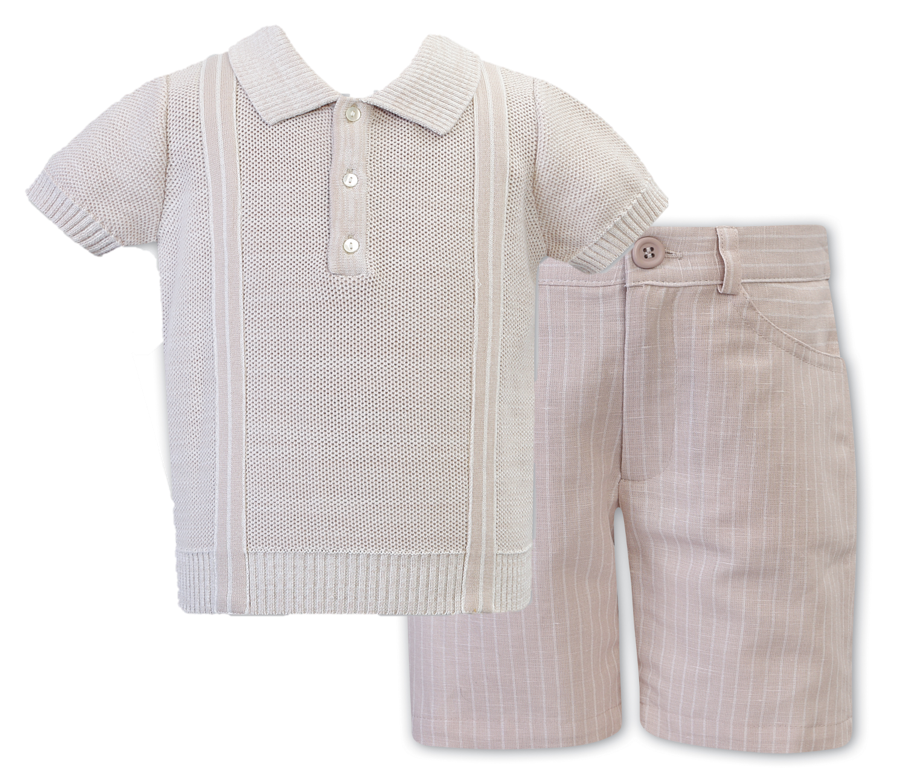 Boys Fine Knit Short Sleeved Polo Shirt with Contrasting Panel Detail, Stripped Shorts with Pockets and Adjustable Waist