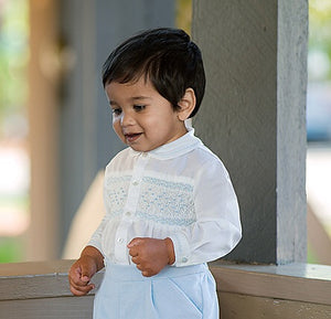 Boys Traditional Long Sleeved Embroidered Smocked Shirt with Detailed Collar and Velvet Button on Shorts