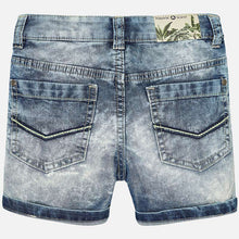 Boys Washed Effect Lightweight Denim Bermuda Shorts with Elasticated Adjustable Waist Front and Back Pockets