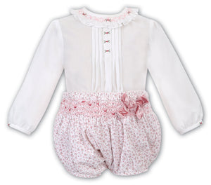 Baby Girls 2 Piece Set, Floral Embroidered Detailed Jam Pants and Long Sleeved Blouse with Detailed Neckline and Cuffs
