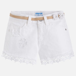 Girls White Denim Lace Detailed Shorts with Belt