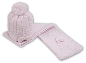 Baby Girls Chunky Cable Knit Pom Hat and Scarf Set with Knitted Bow Detail on Front of Hat