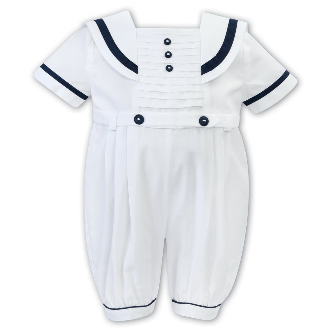 Baby Boys Sailor Style Short Sleeved Romper Detailed Pleated Front Panel with Contrasting Trim and Buttons
