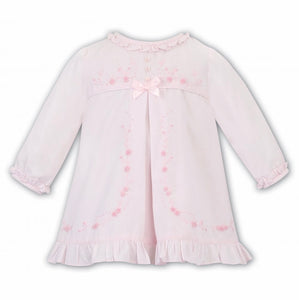 Baby Girls A line Long Sleeved Dress , Delicate Applique Embroidery on Bodice and Front Panel with Frilled Hemline