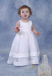 Baby Girls Christening Satin Sheen and Organza Dress and Bolero Jacket