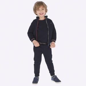 Boys 3 Piece Sporty Tracksuit Consists of Zip Fastening Jacket, Sweatshirt and Jogging Bottoms with Contrasting Trims and Pockets