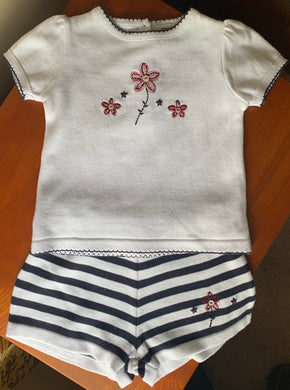 Girls Fine Knit Set, Stripped Elasticated Shorts, Short Sleeved, Round Neck T-Shirt with Applique Embroidery
