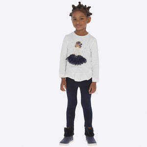 Girls Legging Set, Long Sleeved Detailed Print Applique Top with Imitation Rhinestones and Ruffled Hemline with Plain Leggings
