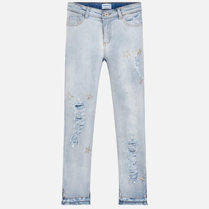Girls Bleached, Skinny, Ripped Effect Denim Jeans with Applique, Stud and Gem Detail, Elasticated Waist, 5 Pockets