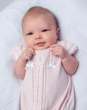 Baby Girl Cable and Scolloped Detailed Fine Knitted Cap Sleeved Romper, Bow and Applique and Pearl Detail