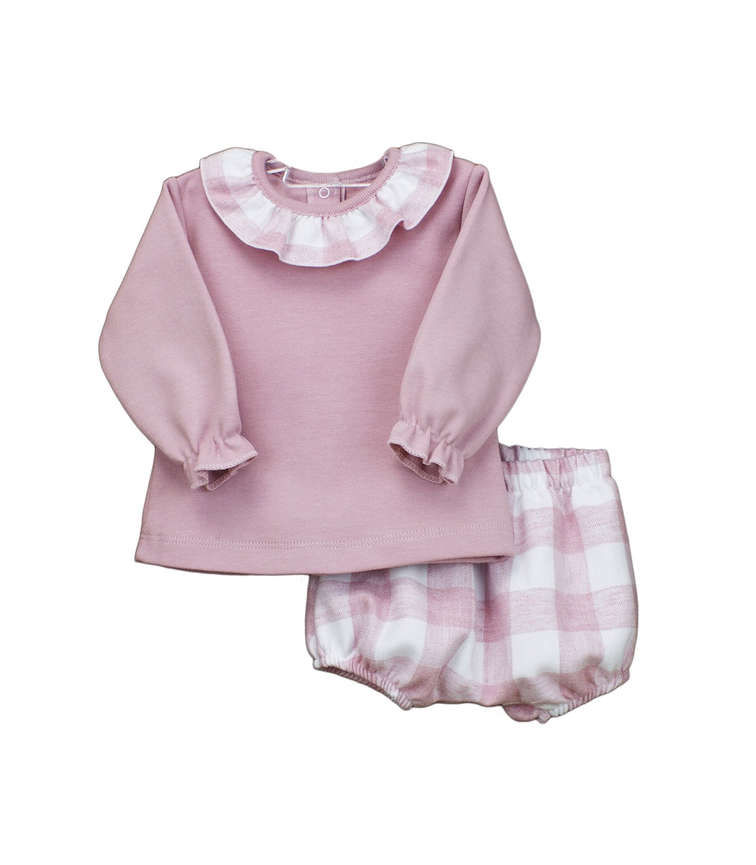 Baby Girls 2 Piece Shorts Set, Plain Long Sleeved Top with Contrasting Checked Fabric Frilled Collar with Checked Jam Pants in Soft Fabric