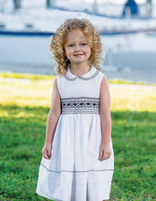 Traditional Hand Smocked Sleeveless Girls Dress with Embriodered Detailed Bodice and Trim on Collar and Hemline