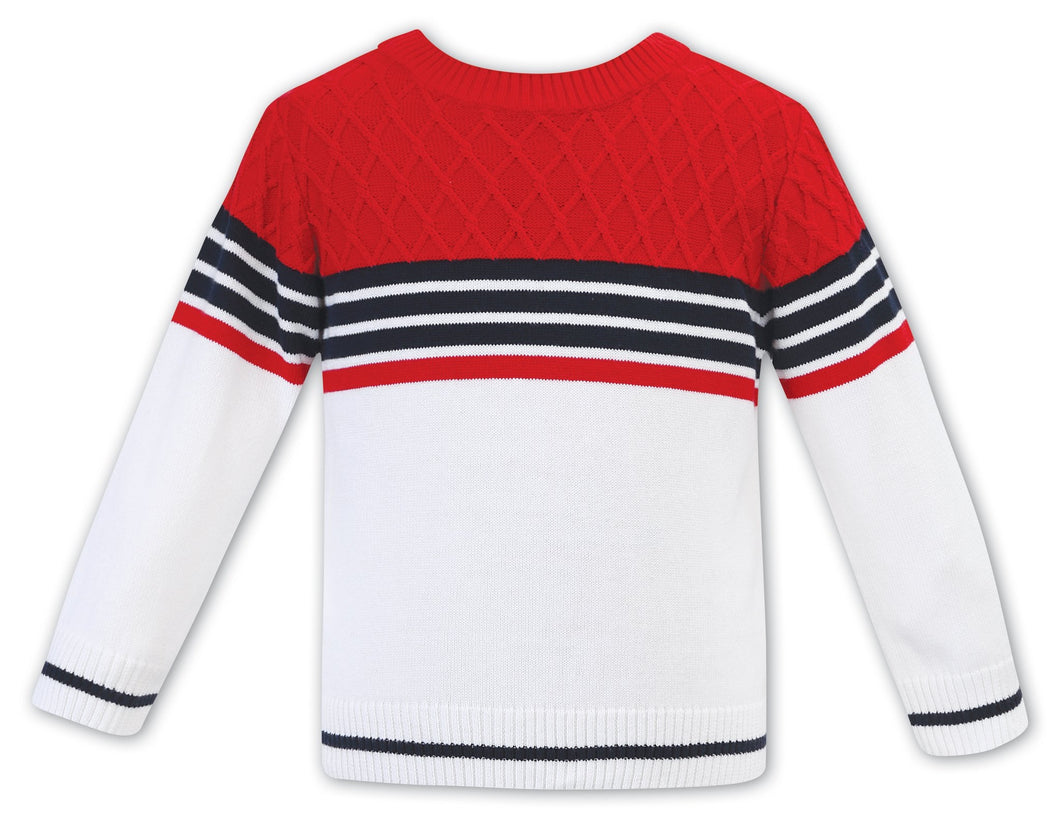 Boys Round Neck Cotton Jumper with Block Colours and Stripes