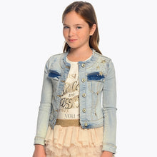 Girls Bleached Applique Denim Jacket, Decorated with Studs and Gems, Round Neck with 2 Breast Pockets