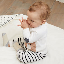 Baby Boys Set, Long Sleeved Round Neck T-Shirt with Teddy Detail and Contrasting Striped Jogger Bottoms in Soft Cotton