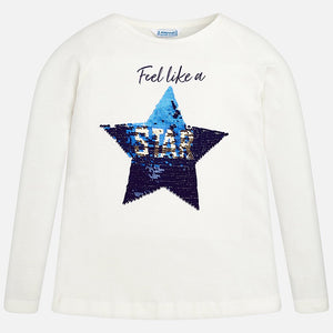 Girls Long Sleeved T-Shirt with Colour Changing Sequin Star detailed Front