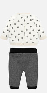 Baby Boys Set, Long Sleeved Round Neck T-Shirt with Stars and Teddy Detail and Contrasting Jogger Bottoms in Soft Cotton