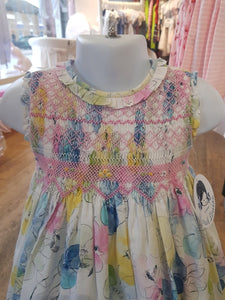 Girls Sleeveless Cotton Print Dress with Frilled Round Neck, Hand Smocked, Embroidered, Applique Detailed Bodice