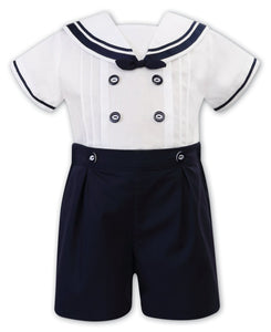 Boys Sailor Style Short Sleeved Shorts Set, Contrasting Trim, Button and Bow and Front Pleated Detail. Button on ShortsNavy/White