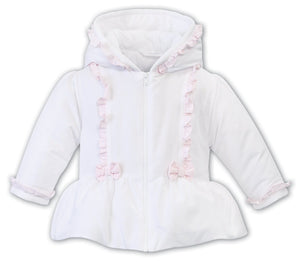 Girls Quilted Hooded Jacket, Peplum Waist, Contrasting Trim and Bow Detail to Front, Trim on Sleeves and Hood