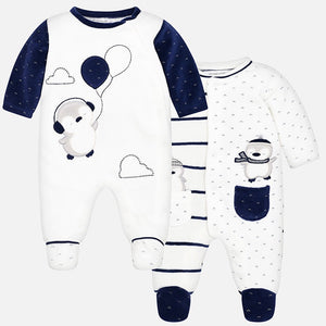 Baby Boys Applique Detailed Set of Two Super Soft Rompers. Gift Boxed