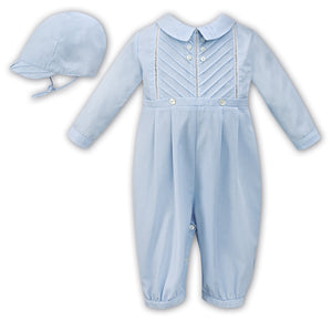 Baby Boys Traditional all in one Long Sleeved Detailed Romper with Detailed Collar and Cap