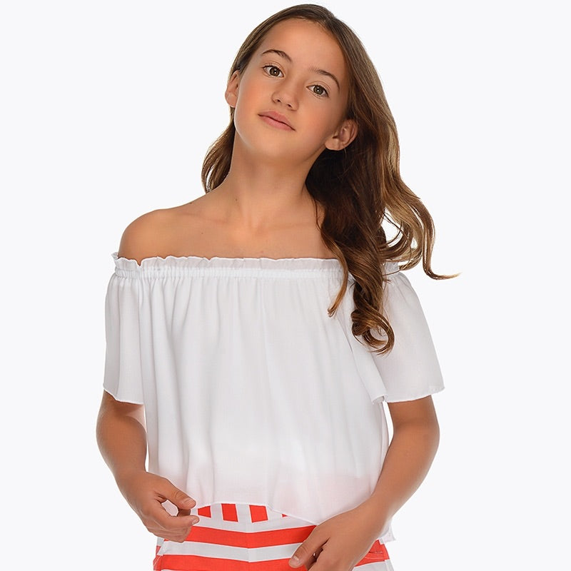 Girls Delicate Layered Chiffon On or Off Shoulder Blouse. Elasticated round the Neckline and Waist