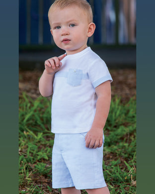 Boys Stripped Shorts with Side Pockets and Adjustable Waistline, Short Sleeved T-Shirt with Contrasting Trim, Breast Pocket.