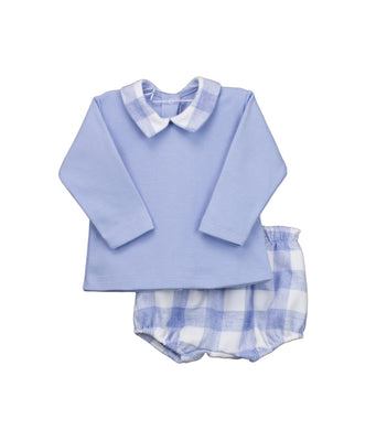Baby Boys 2 Piece Short Set, Plain Long Sleeved Top with Contrasting Checked Collar with Matching Checked Shorts in Soft Fabric