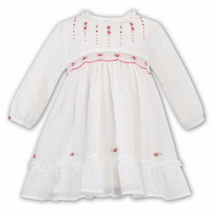 Baby Girls Voile Long Sleeved Traditional Dress, Hand Smocked and Embriodered Applique Detail with Detailed Frilled Hemline