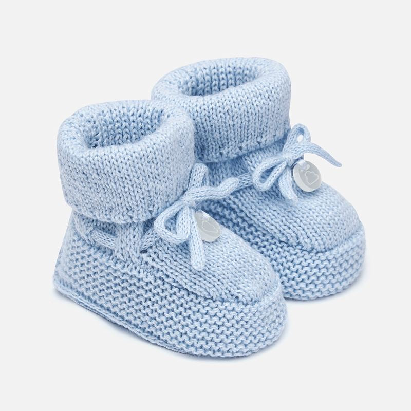 Delicate Knit Baby Booties, Made with Breathable Organic Cotton. Decorative Knit and Bow Detail. Gift Boxed