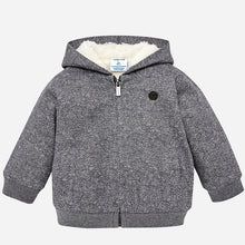 Boys Sheepskin Lined Herrinbone Print Detailed Zipped Front Hoodie