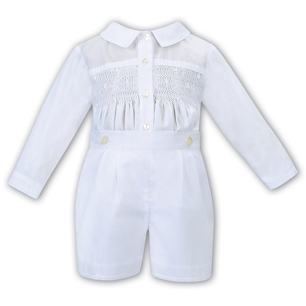 Baby Boys Traditional Hand Smocked, Embroidered Long Sleeved Shirt with Detailed Collar and Attatched Short Pants