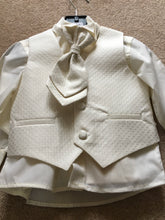 Baby Boys 4 Piece Suits, Ivory  Trousers, Ivory Satin Detailed Waistcoat with Matching Cravat and White Shirt