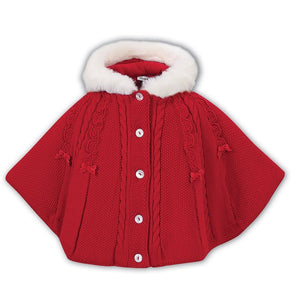 Girls Fully Lined Cable and Bow Detailed Knitted Poncho Fuax Fur Hood with Back Belt Detail and Front Buttons